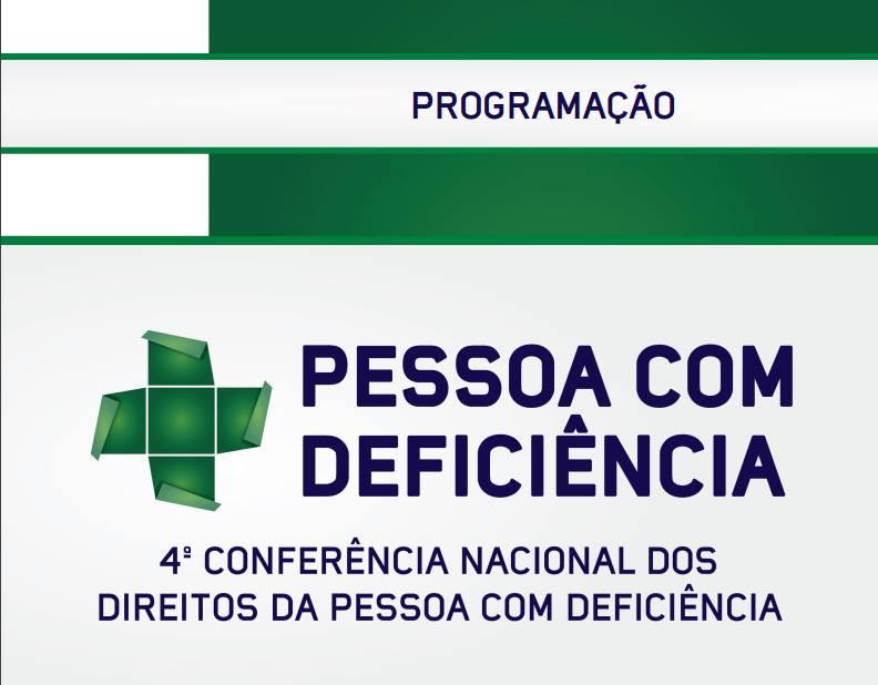 baner da Conferência, com letras azuis em fundo branco e detalhes em verde.
