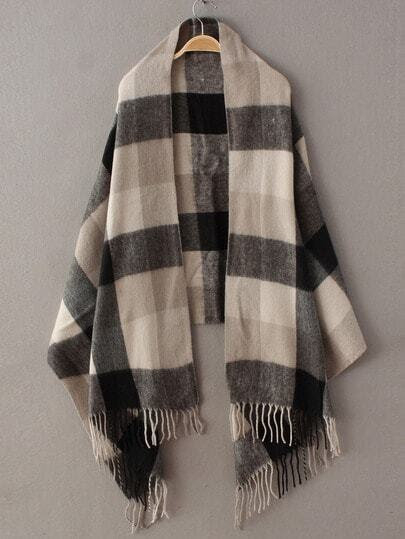 Black Grey Plaid Tassel Classical Scarve pictures
