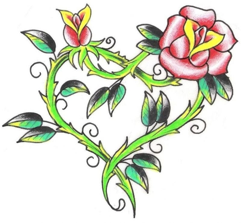 Rose With Heart Drawing At Getdrawingscom Free For Personal Use