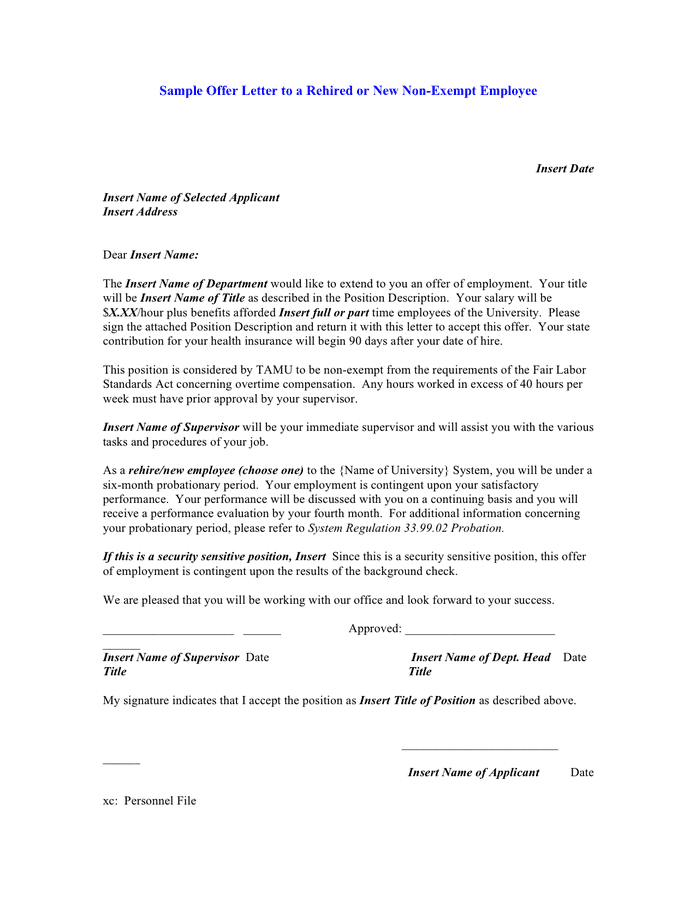 Sample Offer Letter To A Rehired Or New Non Exempt Employee In Word And Pdf Formats