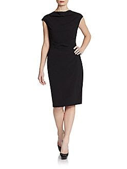 Saks Fifth Avenue BLACK Cap-Sleeve Bi-Stretch Sheath Dress