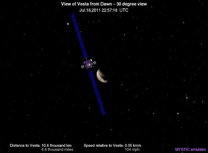 A computer-generated image depicting the Dawn spacecraft's current position from asteroid Vesta.