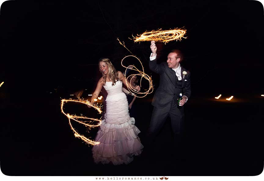 Bride and Groom with Sparklers Light Painting at Wedding - Maison Talbooth Dedham Wedding Photography Essex - Sian and James - Hello Romance Wedding Photography