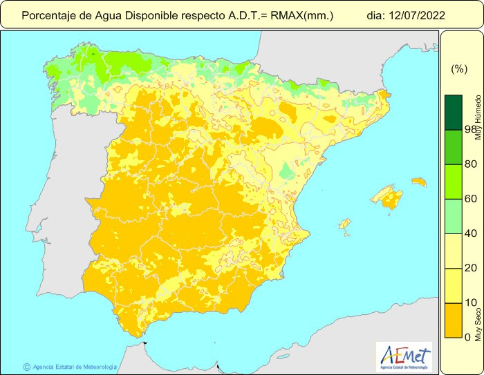 mapa de tempertures màximes a espanya