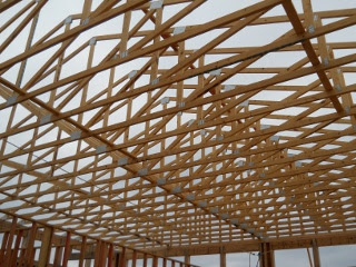 House Roof Trusses Finished - Inside View