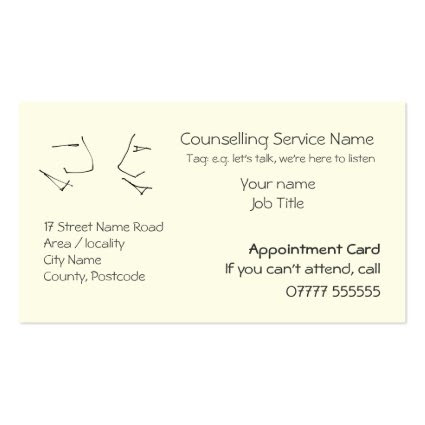 Talking Heads, Appointment Reminders Business Cards