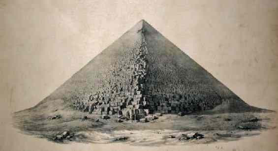 The serrated edges of the Great Pyramid are made of countless stone blocks.