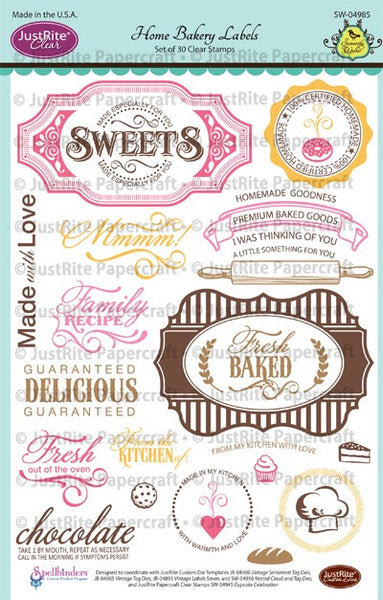 Home Bakery Labels Clear Stamps