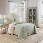 Floral Stripe Garden Glitz Bedspread Set (King) 3pc - Waverly