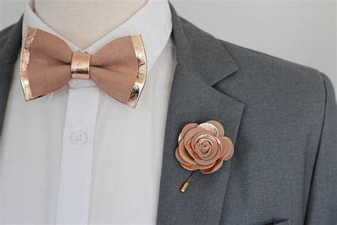 rose gold nude leather bow tie  menboys rose gold