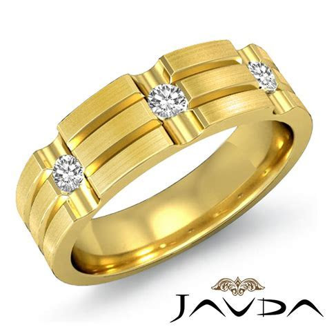 Men Half Wedding Band 18k Yellow Gold 3Stone Bezel Diamond