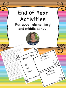 Wrapping up the End of the Year ~ Activities for Middle Grades