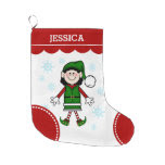 Elf Girl (black hair) Large Christmas Stocking