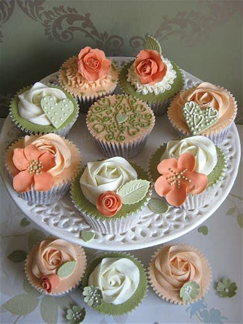 Wedding cupcake samples in vibrant olive green & warm