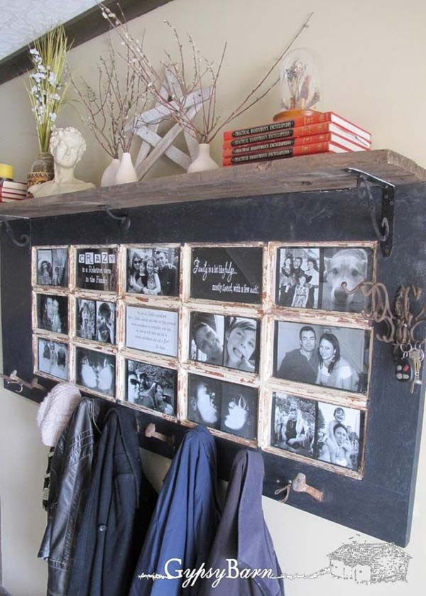 Old Door Photo Frame And Coat Rack Ideal For A Hallway Amazing Diy