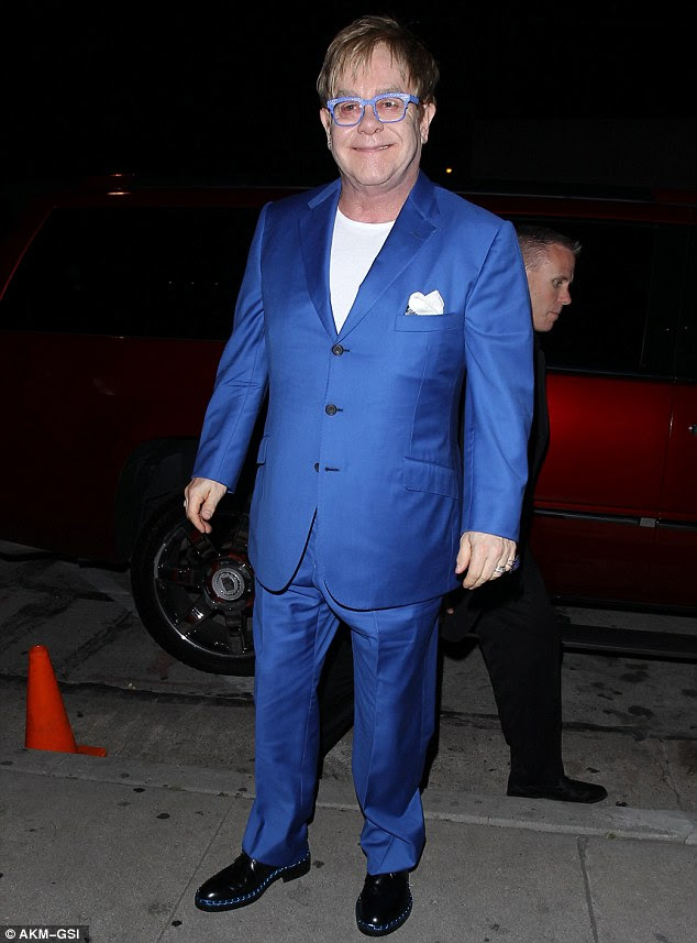 Rated blue: Elton John celebrated turning 66 with a small dinner on Monday night at Craig's in West Hollywood