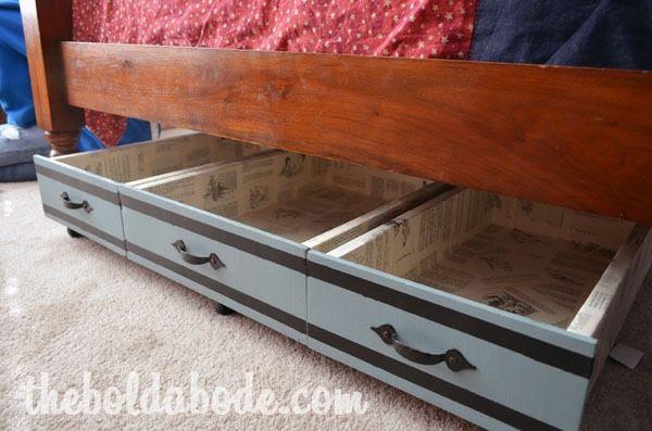 Repurposed Drawers as Under Bed Storage