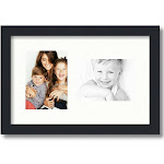 Collage Picture Frame, Satin Black Frame with 2 openings for 5x7 photos with Fabric White Mat. D3926EK106 , ArtToframes