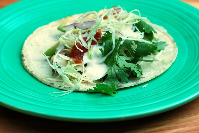 Grilled fish tacos by Eve Fox, Garden of Eating blog, copyright 2012