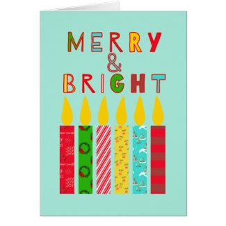 Merry and Bright Christmas Candles Greeting Card