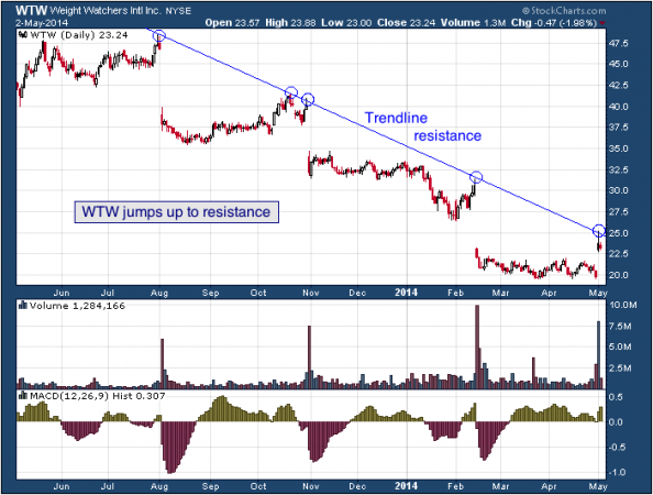 1-year chart of WTW (Weight Watchers International, Inc.)