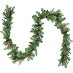 "Northlight 9' x 10"" Noble Fir with Red Berries and Pine Cones Artificial Christmas Garland - Unlit"