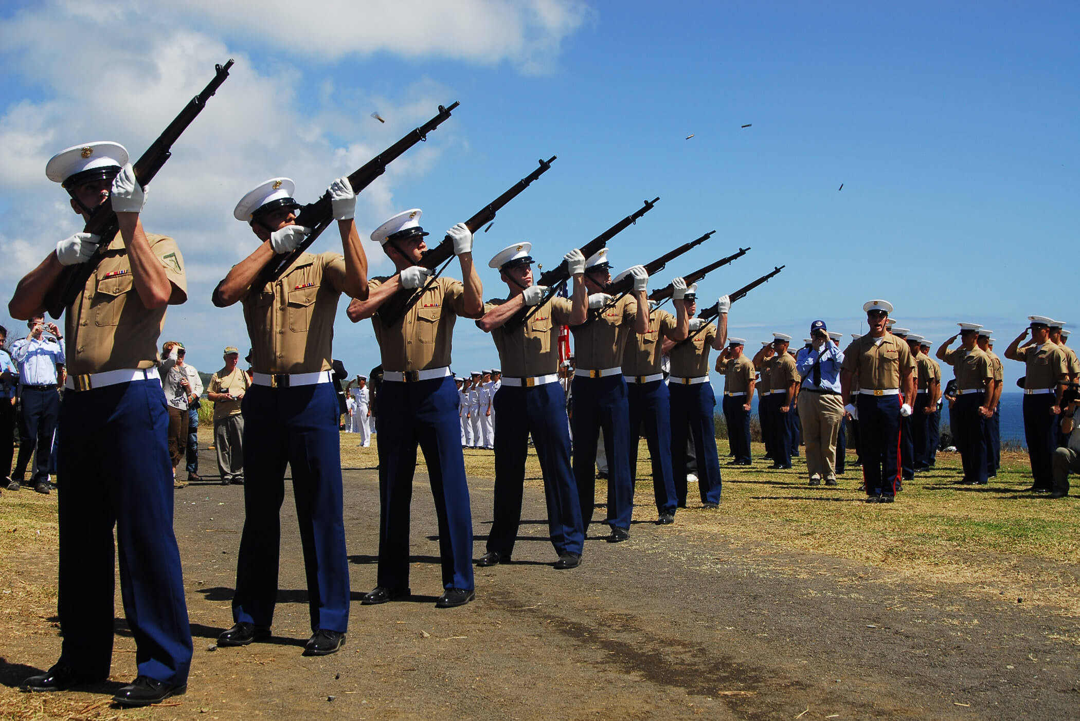 IWO TO, Japan (Mar. 3, 2010) US Marines fire a 21 gun salute to render honors to those lost in the Battle of Iwo Jima during the 65th anniversary commemoration of the battle. USS Tortuga (LSD 49) arrived at Iwo To, formerly known as Iwo Jima, on Feb. 28 to support the ceremony. US Navy photo by Lt. Cmdr. Denver Applehans