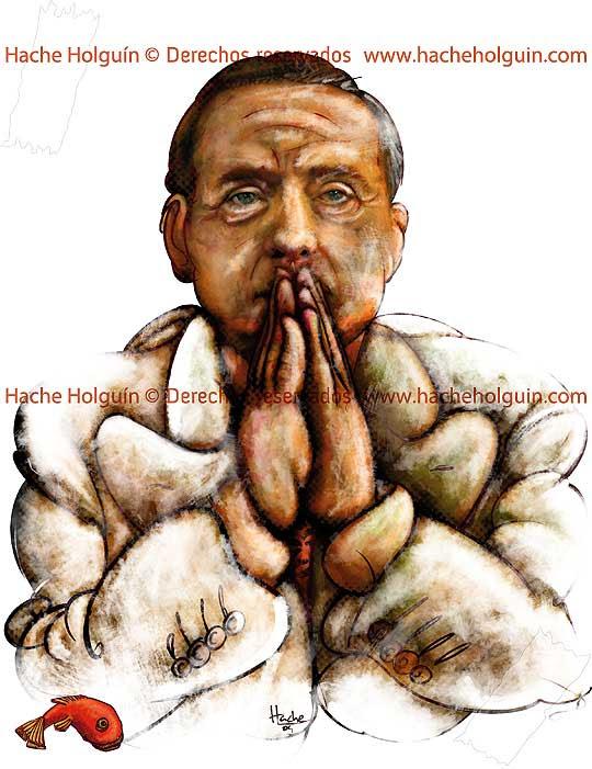 Retrato de Silvio Berlusconi por Hache Holguín