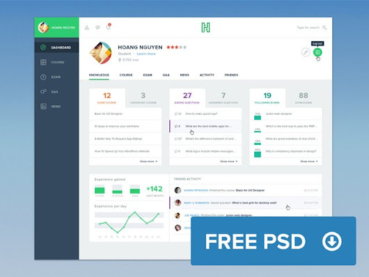 Freebie: Course Dashboard - 365psd
