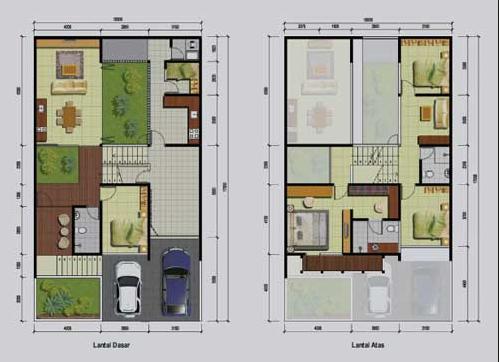 20 Gambar Denah Rumah Ukuran 8x10 3 Kamar Tidur 4 Desain