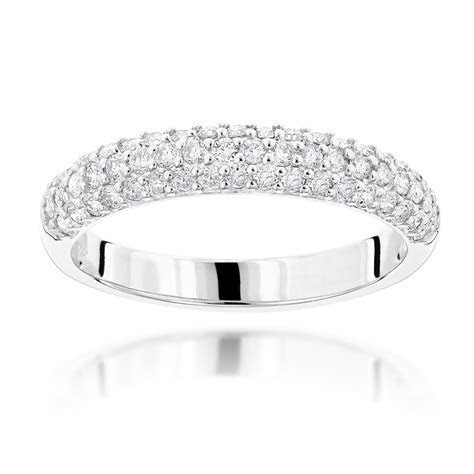 1 Carat Thin Diamond Bands 14K Gold 3 Row Round Diamond