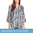 Gloria Vanderbilt Ladies' Printed Blouse, Black, Large