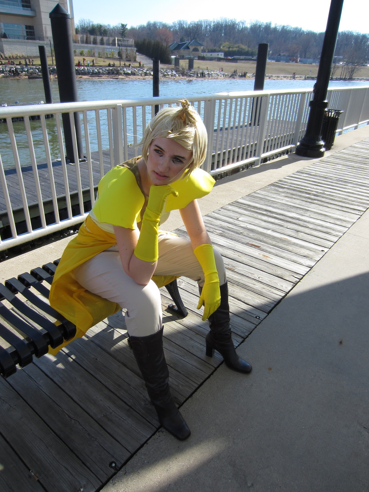 My Yellow Diamond cosplay from Katsucon today! Featuring Yellow going progressively more bonkers as Blue just won't stop being sad, until she finally has to go sit on a bench and stew it over.