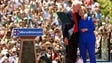 The Clintons hug after her official campaign launch