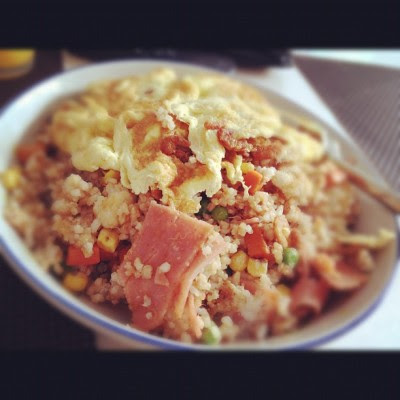 Fried rice w hams and beans. 👍 #food  (Taken with instagram)