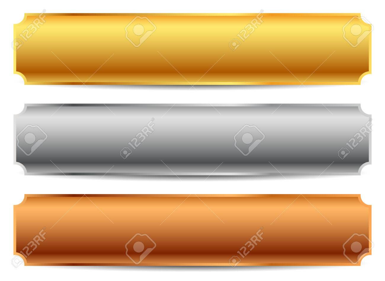Gold, Silver, Bronze Bars, Banners. Editable Vector. Royalty Free ...