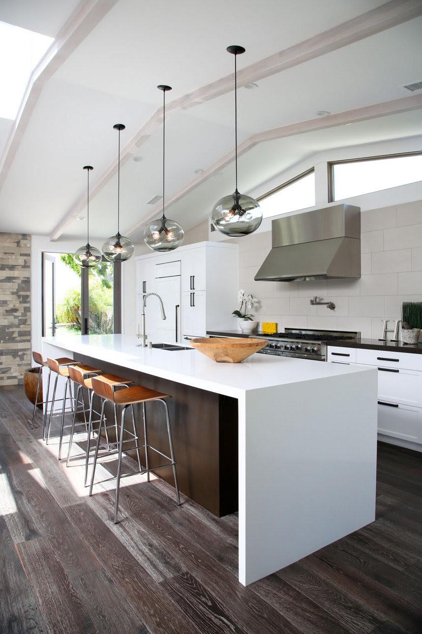 Kitchen Island Modern Lighting Adds Minimalist Feel To California Home