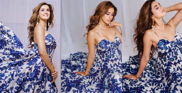 Disha looked an angel in latest photos clad in a white and blue summer dress