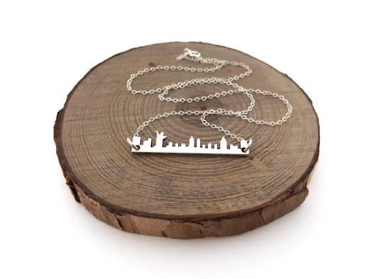 New York City Skyline Necklace  Cityscape Bar by CYDesignStudio