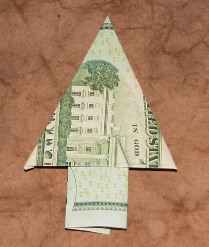 origami Money Christmas Tree 015
