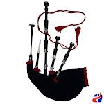 Black Velvet Red Fringe Full Size Scottish Great Highland Bagpipe