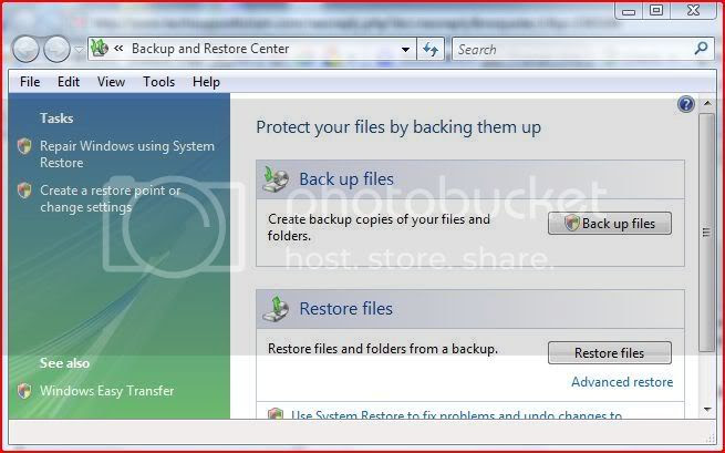 vista system backup and restore