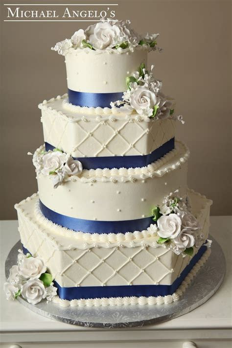 Royal Blue & White Roses #30Ribbons This four tier hexagon