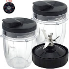 2 Pack 12 oz Cup with Spout Lid and Extractor Blade (6-Fins) Replacement Part Compatible with Nutri Ninja Auto-iQ