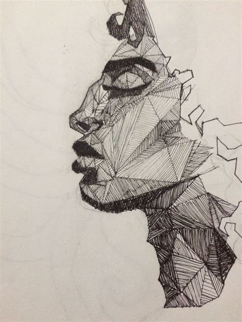 geometric face drawing drawing sketches drawings