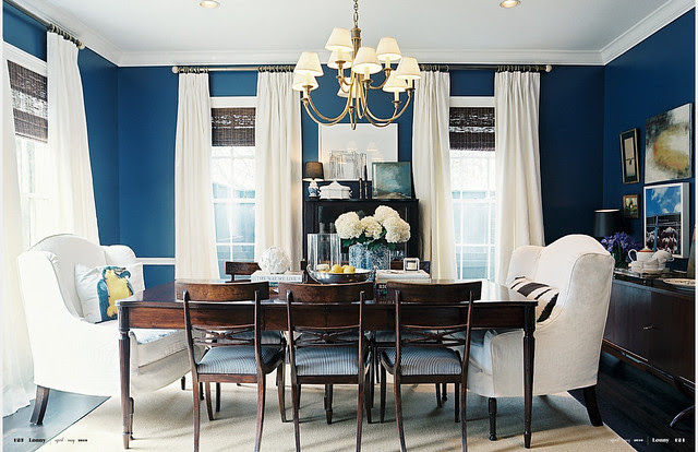 Navy + white dining room: 'Champion Colbalt' by Benjamin Moore ...