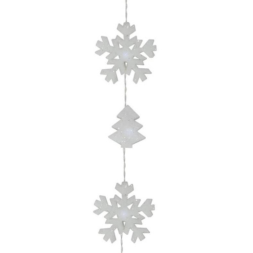 set of 12 battery operated led snowflake and tree christmas lights clear wire