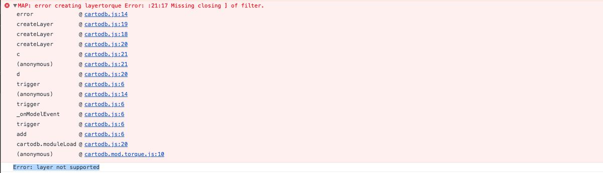 Torque js error creating layertorque: Missing closing ] of filter