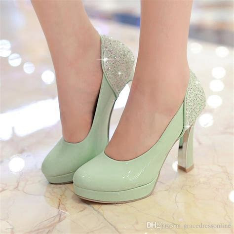 2016 Mint Green Pumps High Heels Wedding Shoes Round Toe