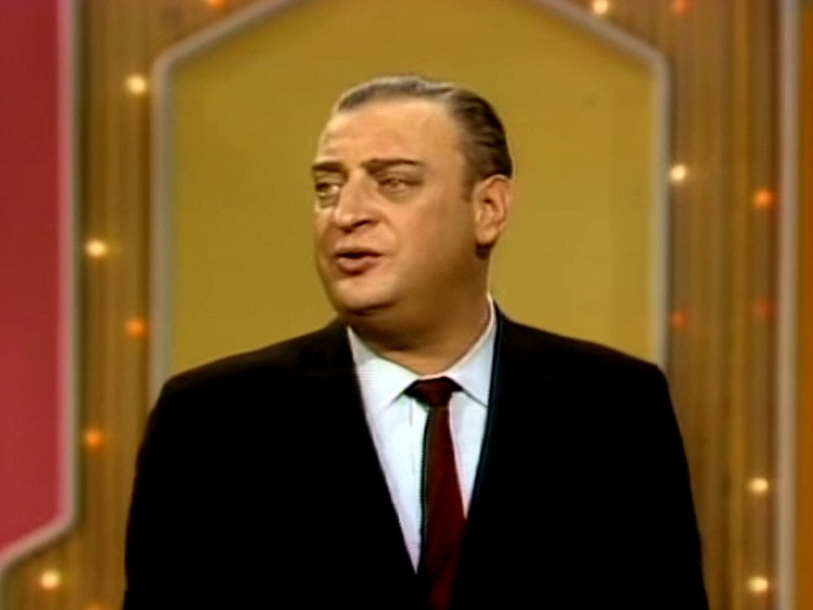 """Rodney Dangerfield is remembered as a legendary comedian, but he didn't catch a break until he made a hit appearance on """"The Ed Sullivan Show"""" at age 46."""